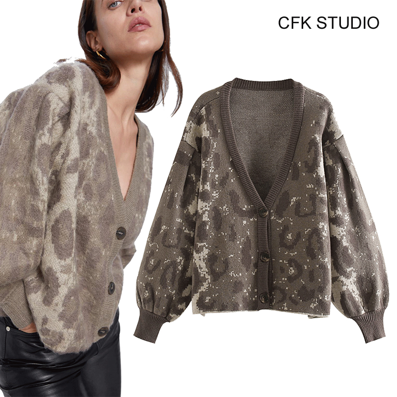 ZA Women Cardigans 2019 New Fashion V-neck Leopard Printed Single Button Thick Knitted Coat Femme Grey Loose Sweater Top