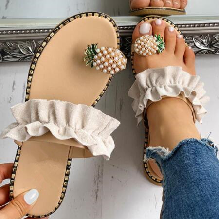 Plus Size 42 Women Summer Sandals Flip Flop Bohemia Pineapple Beach Shoes Single Finger Comfort Outdoor Wild Slippers For Girls