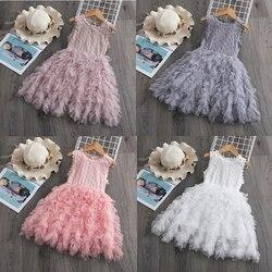 Baby Mädchen Kleidung Kleine Prinzessin Spitze Kuchen Tutu Schärpen Kleid Sommer Kleidung Kinder Geburtstag Rosa Vestido Infantil Menina 3 5 8 Y