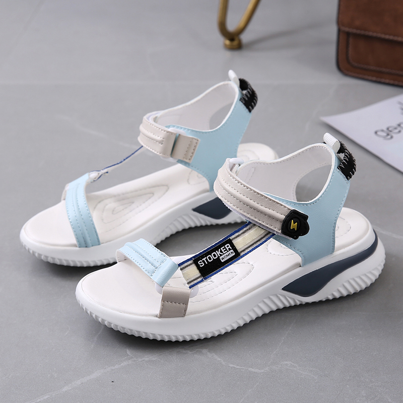 2021 Women's Shoes Outdoor Sports Sandals Summer Flat Harajuku Roman Couple Beach Shoes Microfiber Shoes Zapatos De Mujer Low Heels  - AliExpress