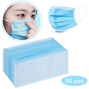 50pcs Masks Disposable Mouth Face Mask Protection Masks Breathable Dustproof 3-layer Earloop Respirator Health Care Face Mask