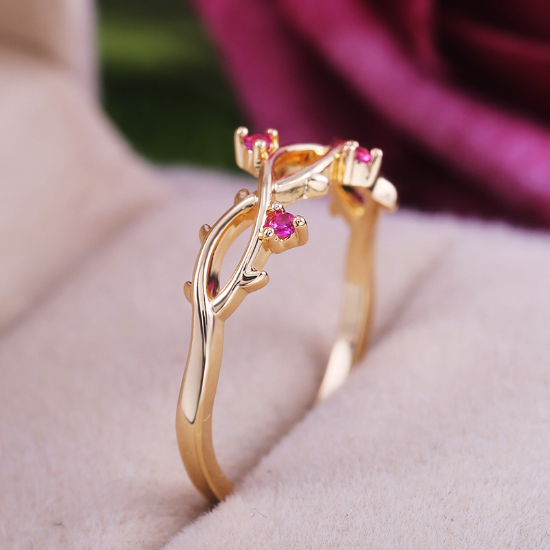 Huitan Elegant Romantic Women Ring Band Twist Design Luxury Noble Golden Color With Rose Red Cubic Zircon Stone Women Jewelry(China)