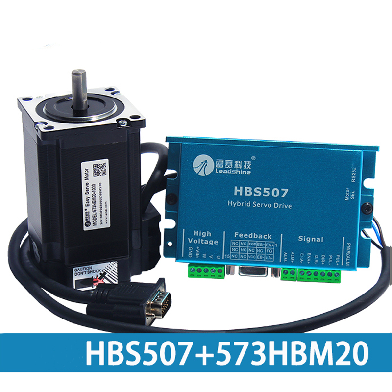 573HBM20 Motor CNC Leadshine Closed Loop Hybrid Servo Drive Kit HBS507 Drive