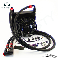 17 Rows 10AN 32MM Universal Oil Cooler Thermostat Sandwich+ 7 Electric Fan
