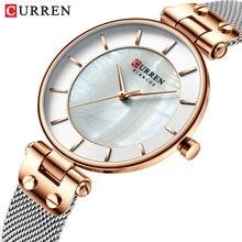 Часы CURREN женские кварцевые, роскошные брендовые наручные, водонепроницаемые, с кожаным ремешком