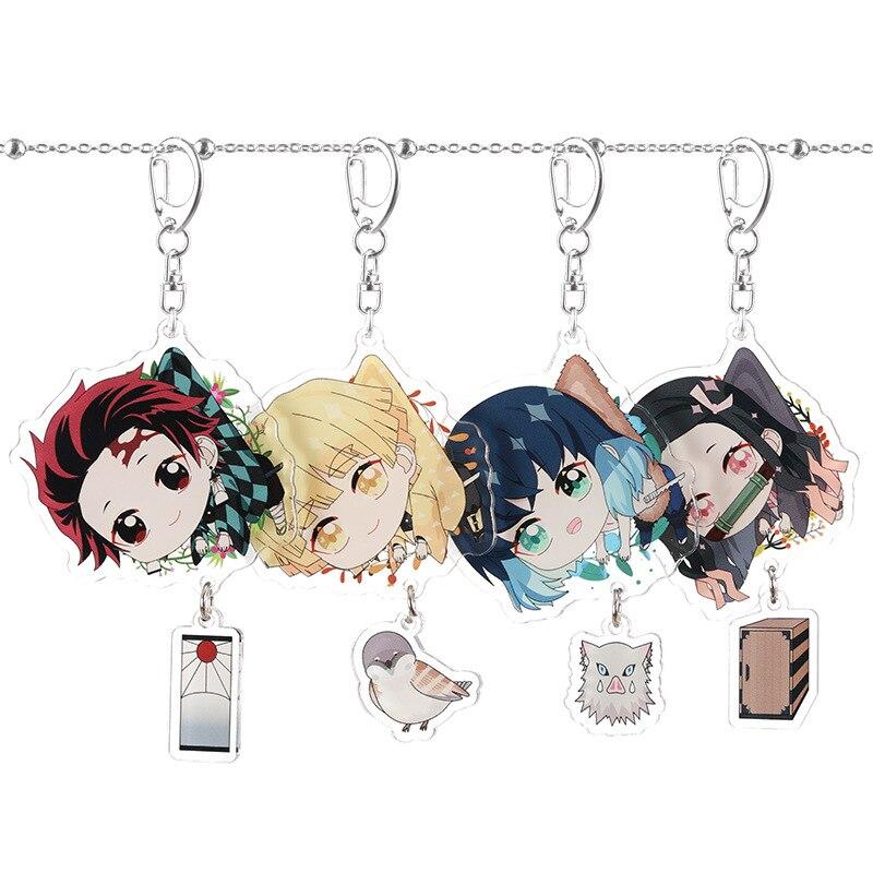 Anime Demon Slayer Kimetsu No Yaiba Keychain Kamado Nezuko Agatsuma Zenitsu Hashibira Inosuke Acrylic Key Chain Cute Fun Cartoon