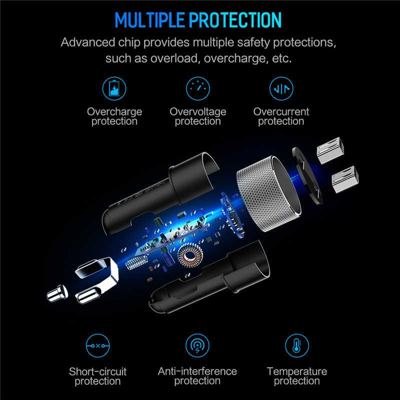 ROCK 5V 3.4A métal double USB chargeur de voiture affichage numérique chargeur de voiture pour téléphone portable chargeur rapide USB chargeur pour Samsung Xiaomi