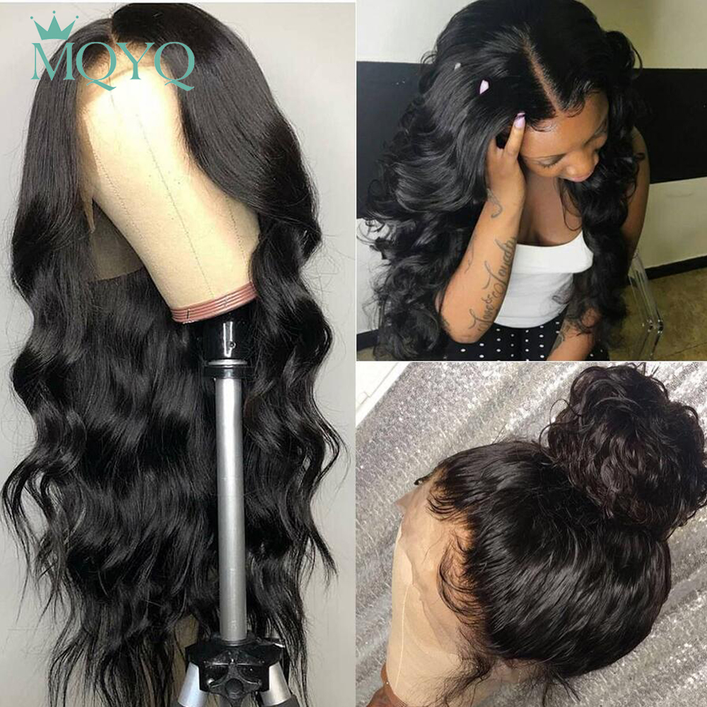 MQYQ 4*4 Lace Closure Wigs Body Wave Human Hair With Baby Hair Bang Non Remy Hair Peruvian Hair Wigs For Women Lace Closure Wig