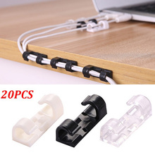 20PCS/lot Self-adhesive Wire Organizer Line Home Office Desktop Clips Cable Clip Buckle Ties Fixer Fastener Holder Accessories