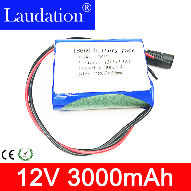 Laudation 2019/Now 12V 3000mAh lithium battery 18650 12.6V rechargeable protection plate