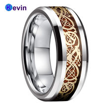 Вольфрамовое обручальное кольцо для мужчин и женщин с деревянным