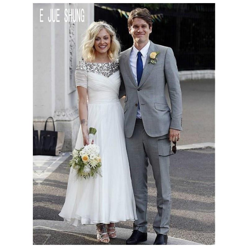E JUE SHUNG Silver Sequins Neck Wedding Dresses Short Sleeves Zipper Back Ankle Length Chiffon Bridal Gowns Vestido De Noiva