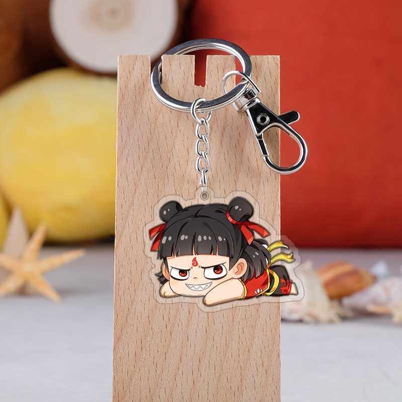 Anime Ne Zha Zhi Mo Tong Jiang Shi anahtarlık moda karikatür figürü akrilik şeytan çocuk Nezha çanta araba anahtarı kolye anahtarlıklar