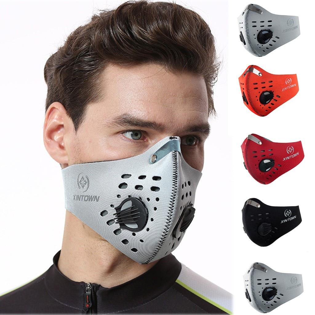 Спортивная маска для лица с фильтром, активированным углем, дышащая велосипедная маска, пылезащитный респиратор для велосипеда, тренировоч...