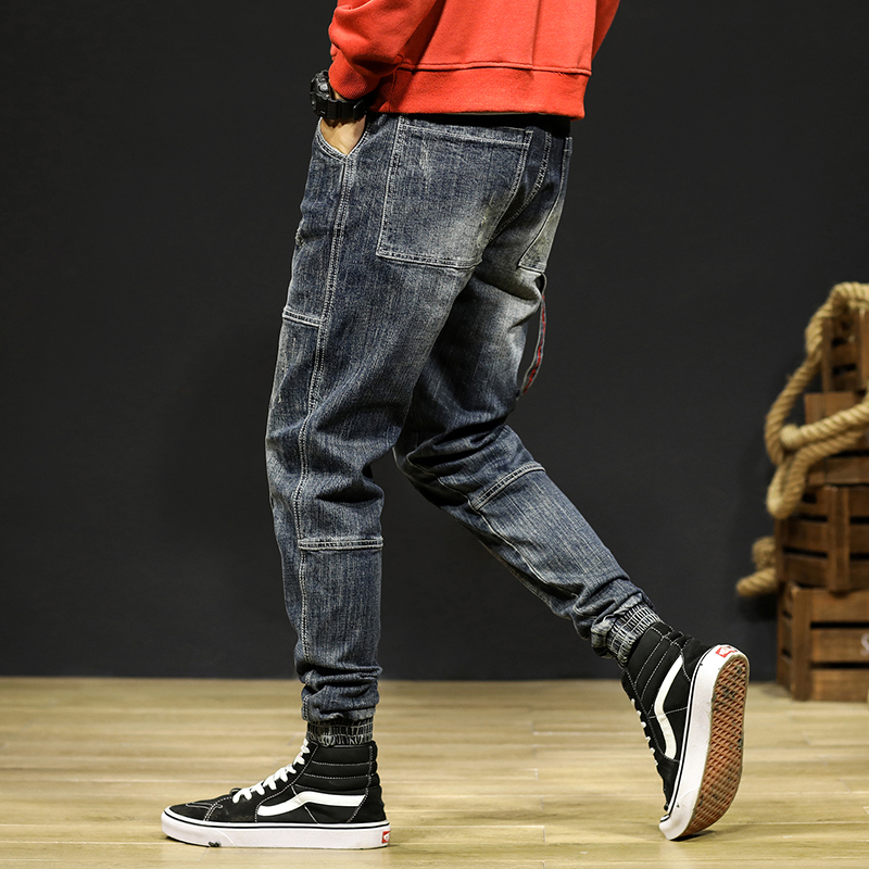 Mens Jeans Joggers Pants Fashion Desinger Baggy Tapered Loose-fit Streetwear Moto Jeans Casual Denim Jogger Pants Plus Size 42 17