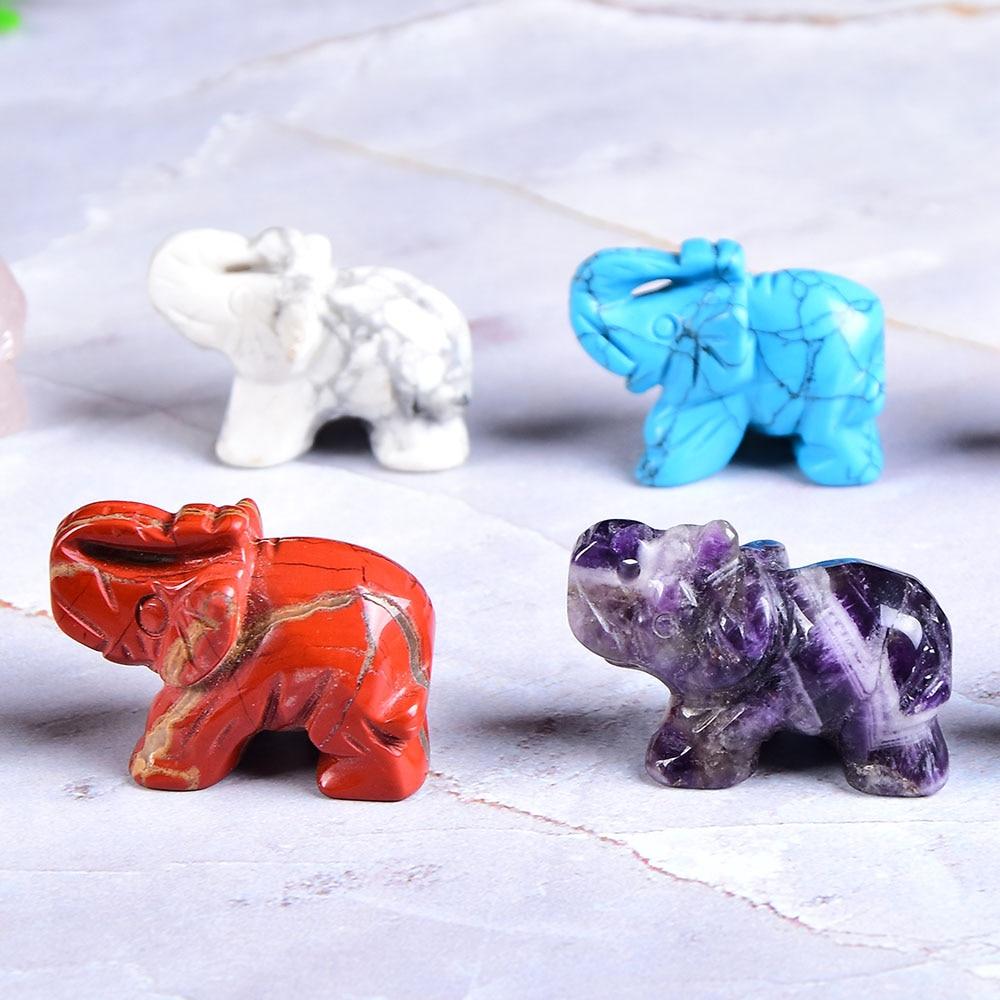 1PC Natural Crystal Rose Quartz Elephant Amethyst Obsidian Animals Stone Crafts Small Decoration Home Decor Christmas Present