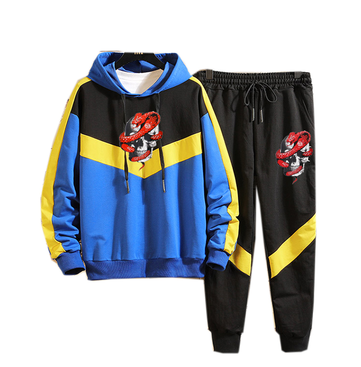 Men Casual  Hoodies Gym Walk Jogging Sport Tracksuit Coat Jacket Trousers Pants Suit Spring Fall Outfit 2PC Skull Snake