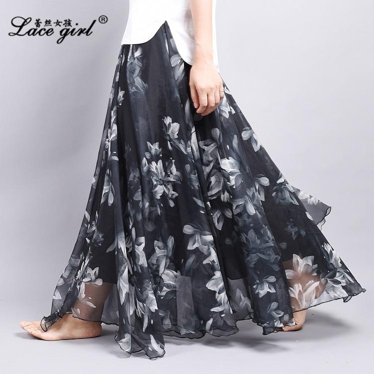 WOMEN'S Dress Spring And Summer New Style Women's Fairy Fashion Printed Chiffon Longuette Large Size Elastic Waist Big Hemline S