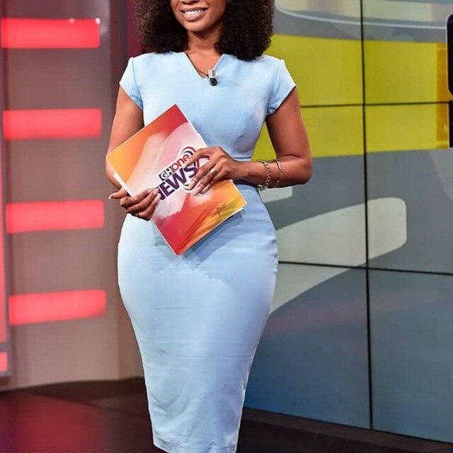Blue Bodycon Dress Office Ladies Elegant Short Sleeve Knee Length Slim Classy Modest Work Wear Elastic Plus Size Female African