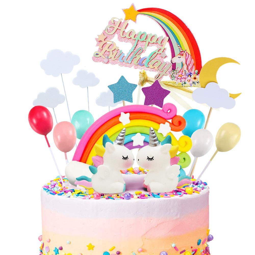 Fanhaus Единорог торт комплект экстракласса облако с радугой воздушным шаром с днем рождения баннер торт украшения мальчик девочки; дети день ...