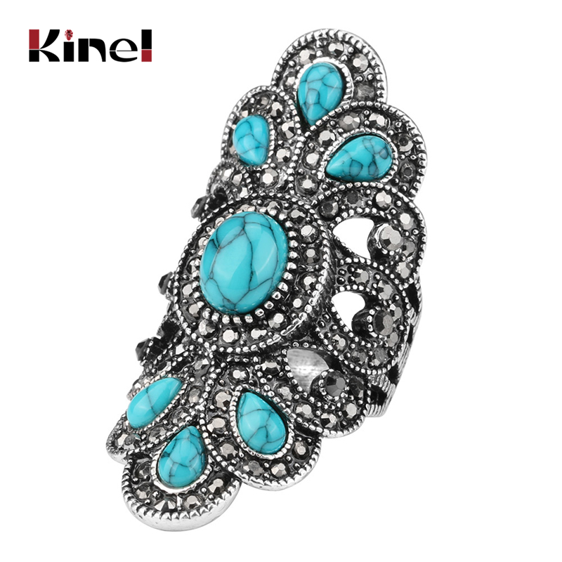 Kinel Luxury Antique Ring For Women Vintage Look Blue Resin Jewelry Bohemian Silver Color Inlay AAA Gray Crystal Charm Punk Ring
