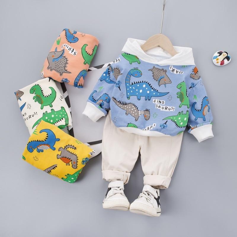 HYLKIDHUOSE 2020 Baby Girls Boys Clothing Sets Spring Toddler Infant Cartoon Dinosaur T Shirt Pants Children Vacation Clothes