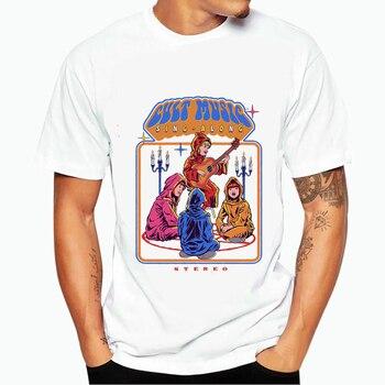 Gran oferta de camiseta con diseño de Demon Death, camiseta escalofriante malvado de satanismo, parca, camiseta Casual de Horror para hombre y mujer, parte de arriba de estilo Hip Hop, camisetas masculinas/femeninas