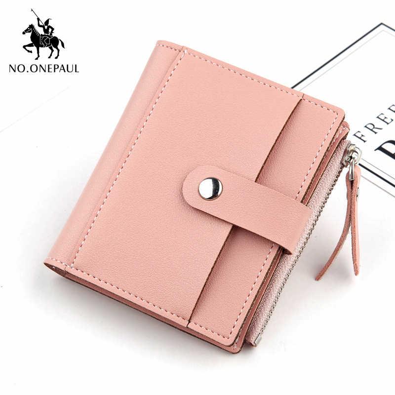 NO. ONEPAUL yumuşak deri fermuar deri malzeme yeni kadın altın toka küçük cüzdan moda basit marka kadın cüzdan