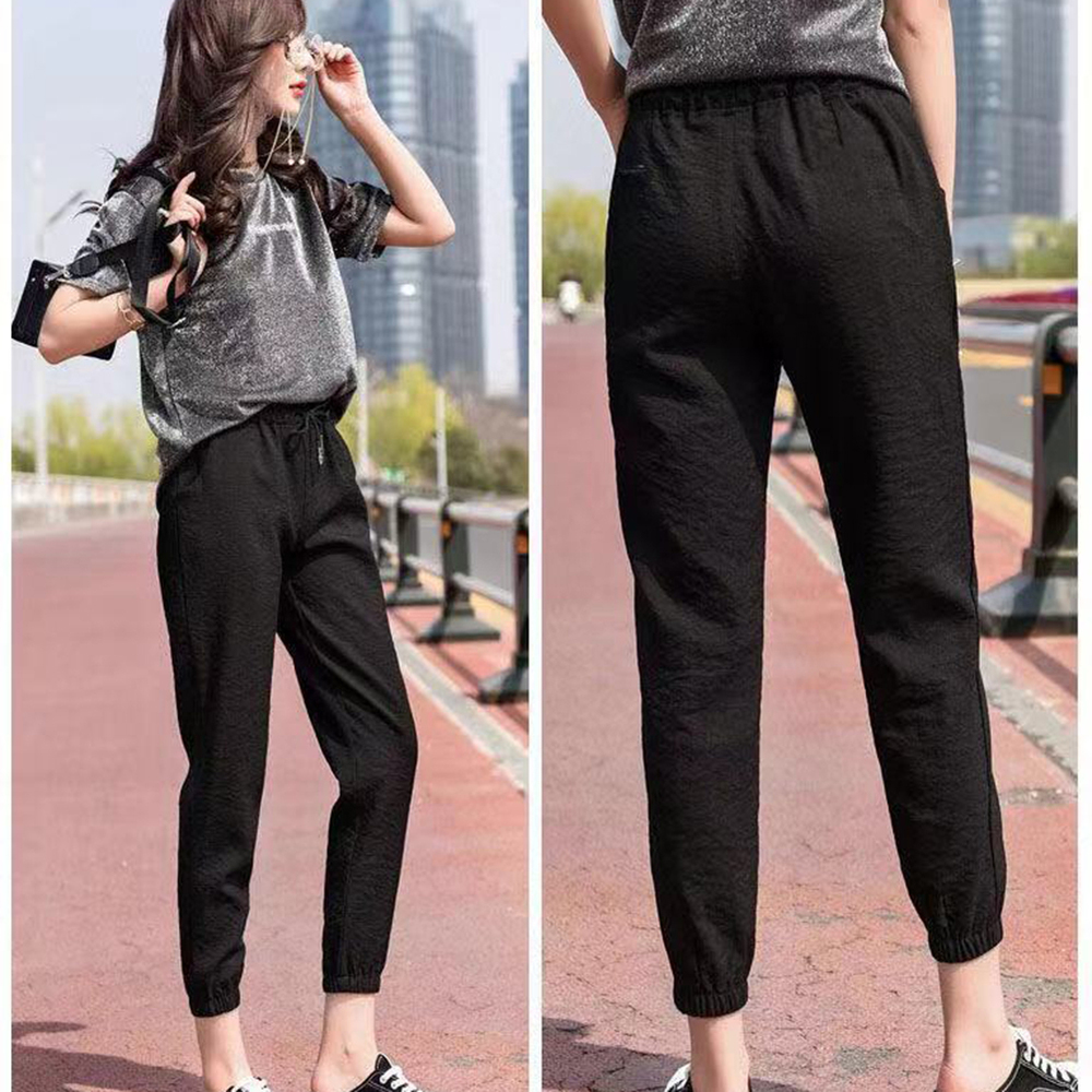 Spring Autumn Women Fashion Brand Korea Style Loose Elastic C Female Gril Student Casual Straight Trousers