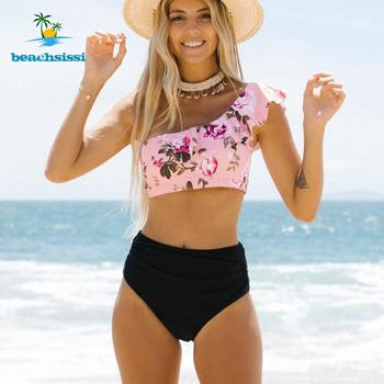 2020 New Beachsissi Cute Floral Print Ruffle One Shoulder Bikini Set Swimsuit Women Summer Two Pieces Swimwear Beach Bathing attraco swimsuit swimwear women bikini set ruffle style rose print bikini graceful floral bikini swimwear strappy bikini sets