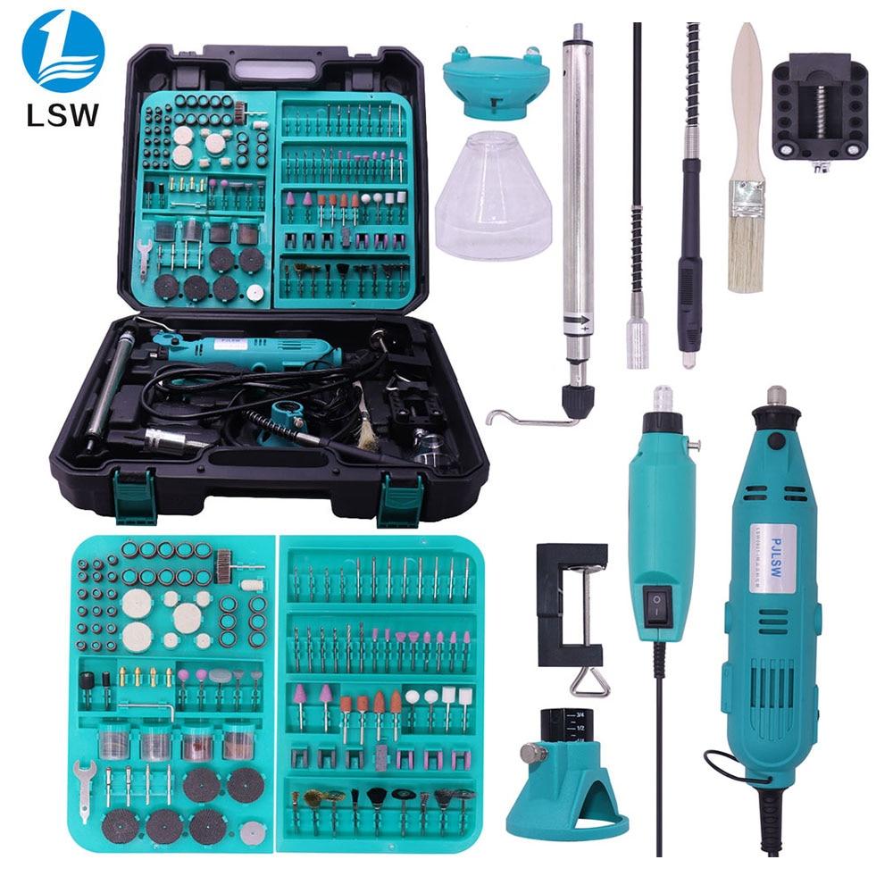PJLSW 2PCS DIY Drill Engraving Electric Dremel Style New Pen grinder Mini Rotary Tool Mini-mill 180w 350-I