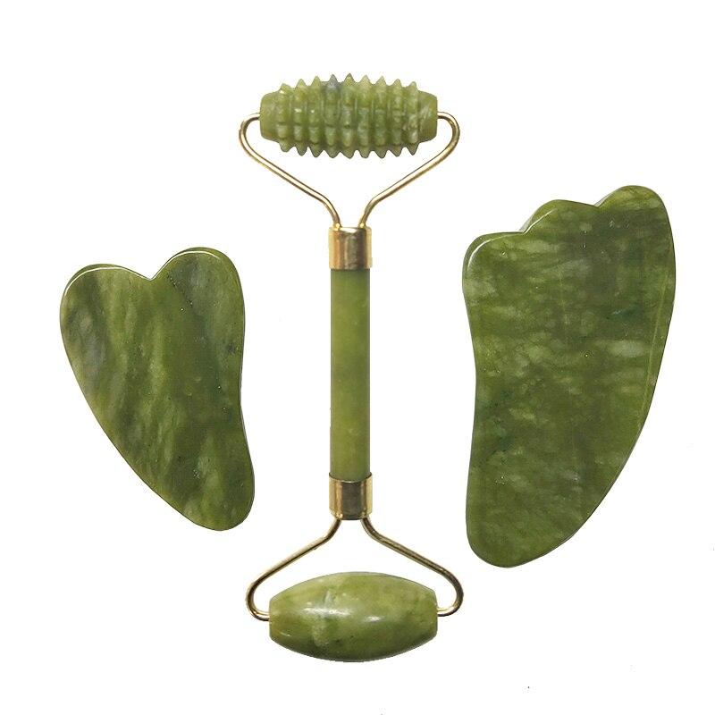 Güzellik ve Sağlık'ten Masaj ve Rahatlama'de Doğal yeşim yuvarlak yüz masaj cihazı gerçek taş yüz masajı Guasha masaj tahtası seti Guasha aracı yeşim rulo guaj kazıyıcı title=