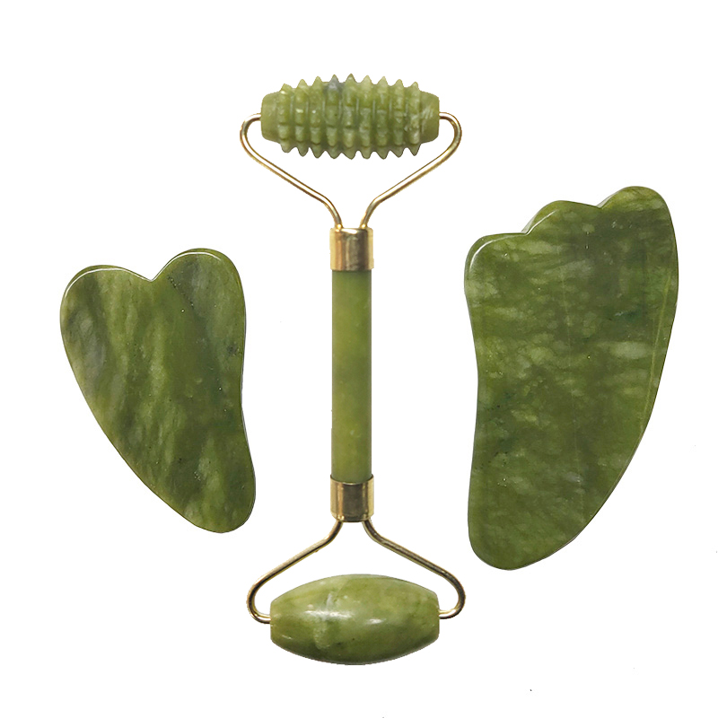 Natural Jade Roller Facial Massager Real Stone Face Massager Guasha Massage Board Set Guasha Tool Jade Roller Gouache Scraper