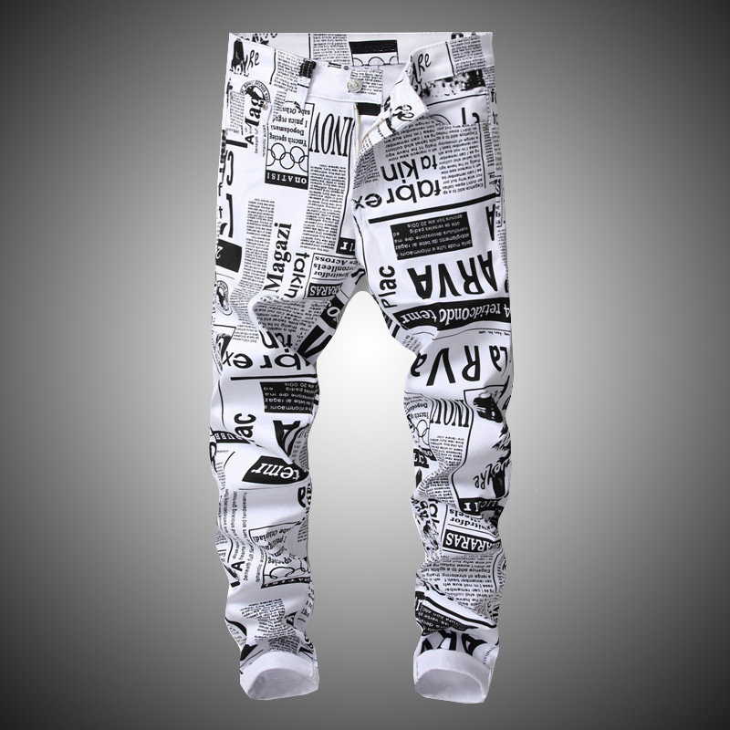 New Hip Hop Printing White Denim Pant Men Slim Fit Stretch Pant Newspaper Print Pants Mens Casual Printed Trousers For Male