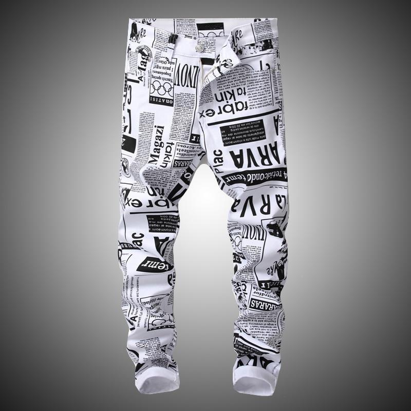 New Hip Hop Printing White Denim Pant Men Slim Fit Stretch Pant Newspaper Print Pants Mens Casual Printed Trousers For Male