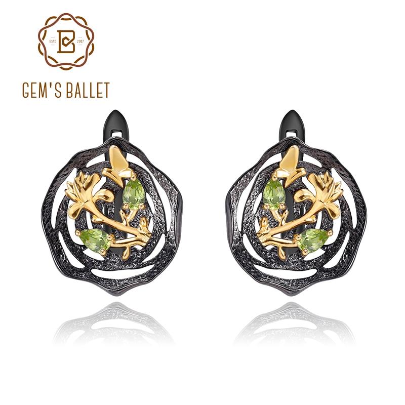 GEM'S BALLET Natural Peridot Woman's Statement Earrings 18k Gold 925 Silver Two Tone Handmade Butterfly Flower Lotus Earrings