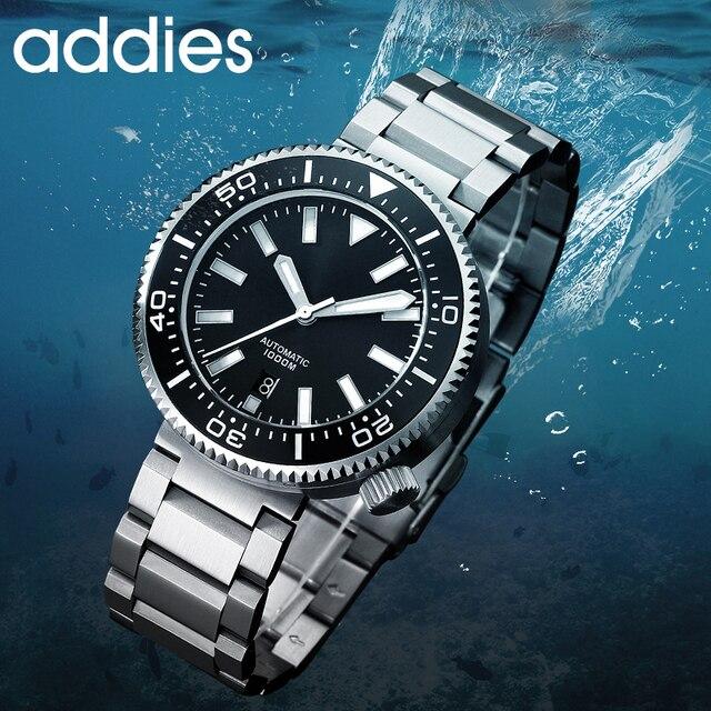 2019 nova moda relógio de aço inoxidável mergulhador relógio 1000 m resistente à água vidro safira cerâmica moldura azul luminoso 1