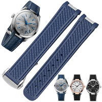 Correa DE silicona suave para reloj, accesorios para pulsera DE reloj, para Omega SEAMASTER 300 AT150 DE VILLE SPEEDMASTER