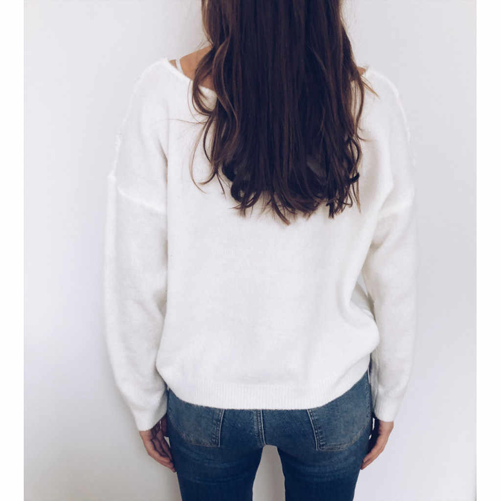 Hiver pull femmes blanc col en V pull automne vêtements femmes Sweter hauts pour femmes chandails 2019 pull femme nouveaute