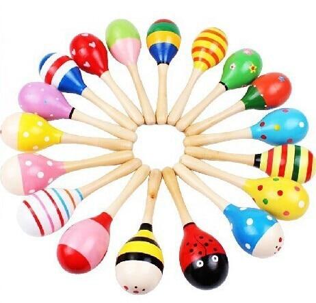 Color Wooden Rattle Toys Cartoon Maracas Beat Wooden Rattle Infant Voice Educational Toy Wholesale