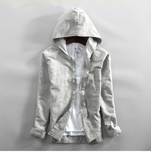 Mens Cotton Linen Hooded Shirts Long Sleeve Men High Quality Summer Hoodies Fashion Breathable Casual Shirt Male Tops
