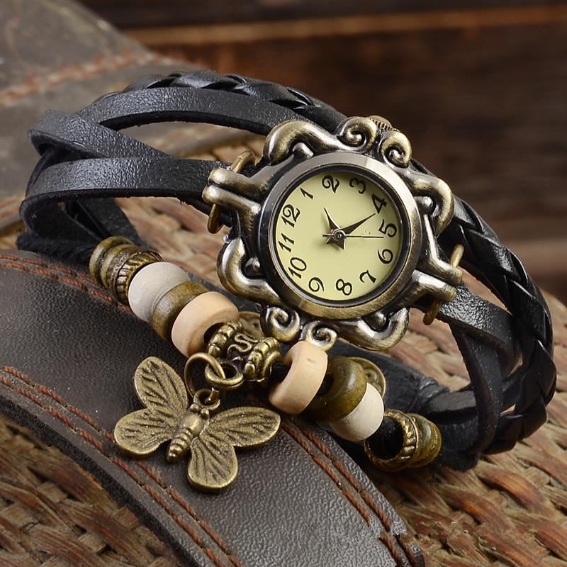 2019 Women Casual Vintage Multilayer Butterfly Faux Leather Bracelet Ladies Wrist Watch Handmade Braided Dreamcatche