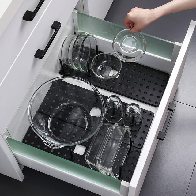 Kitchen retractable storage drain dish rack free adjustment sink sorting tray Kitchen Drawer Non Slip Storage Tray Organizer 3