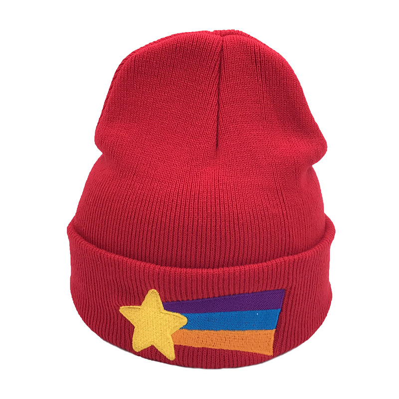 Gravity Falls Mabel Pines Hat Girls Women Winter Cap Red Beanie Mabel Dipper Warm Knitted Star Rainbow Anime Women's Skullies
