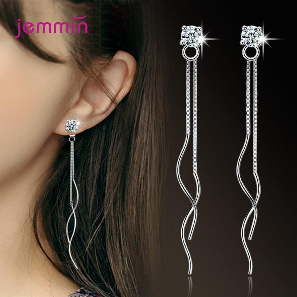 2019 New Fashion Cubic Zirconia Dangle Long Ear Line 925 Sterling Silver Drop Earrings For Women Simple Chain Tassel Jewelry