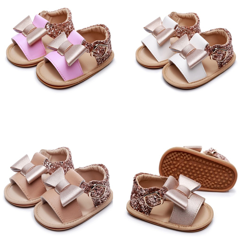 2020 Cute Newborn Infant Baby Girls Bowknot Princess Shoes Diamond Toddler Summer Sandals PU Non-slip Rubber ShoesSize 0-24M