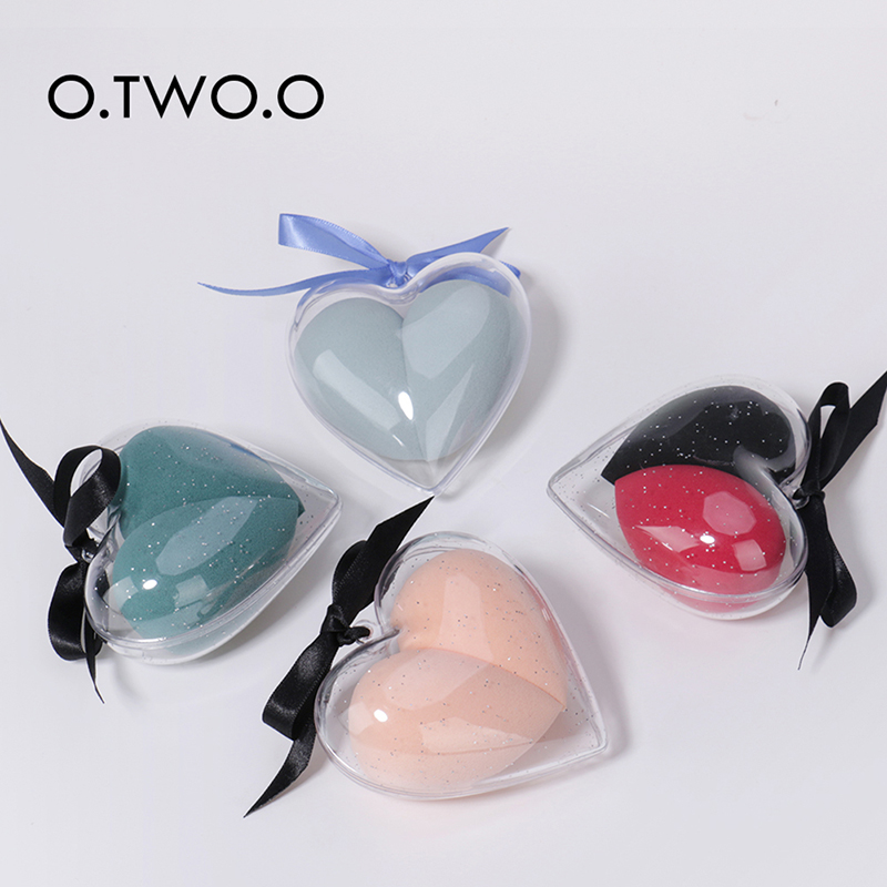 2pcs Heart Shaped Cosmetic Sponge Best Gift For Love Dry And Wet Dual-use Cosmetic Puff  Sponge Powder Puff  Makeup Tools