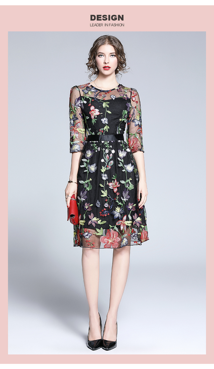new autumn exquisite floral embroidery dress vestidos casual mujer 2020  retro black midi party dress damen kleider k6832
