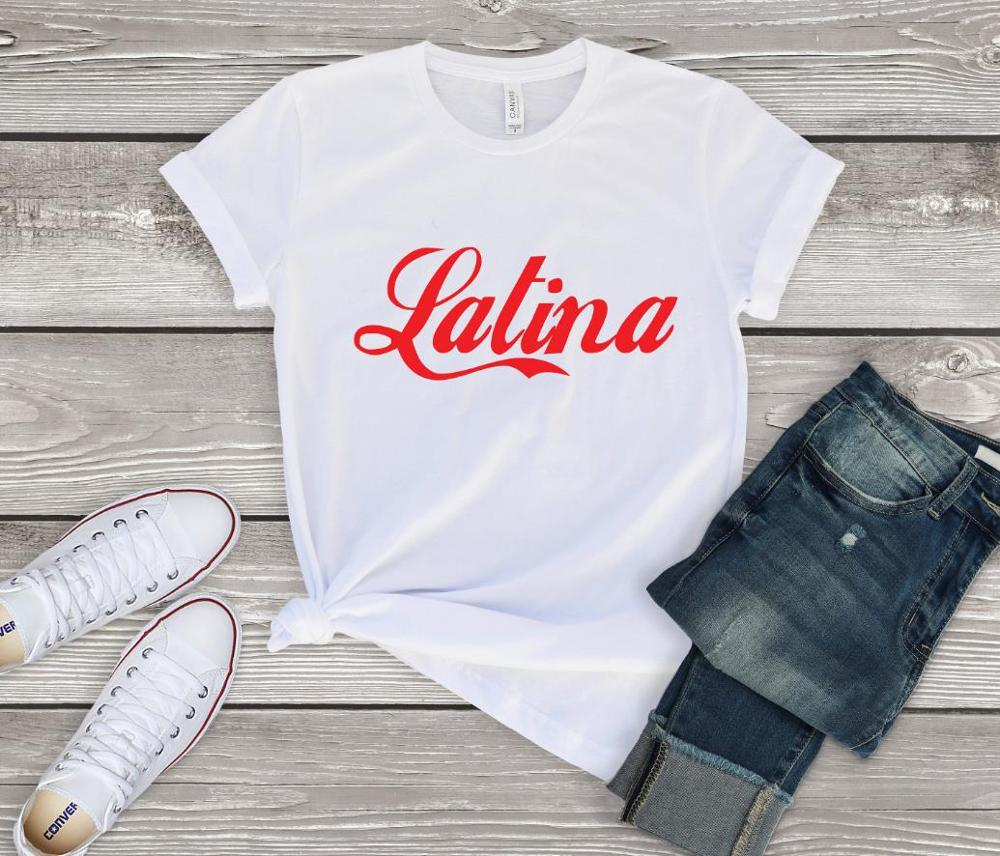 Latina Red Print Women Tshirts Cotton Casual Funny T Shirt For Lady  Top Tee Hipster Drop Ship NA-636