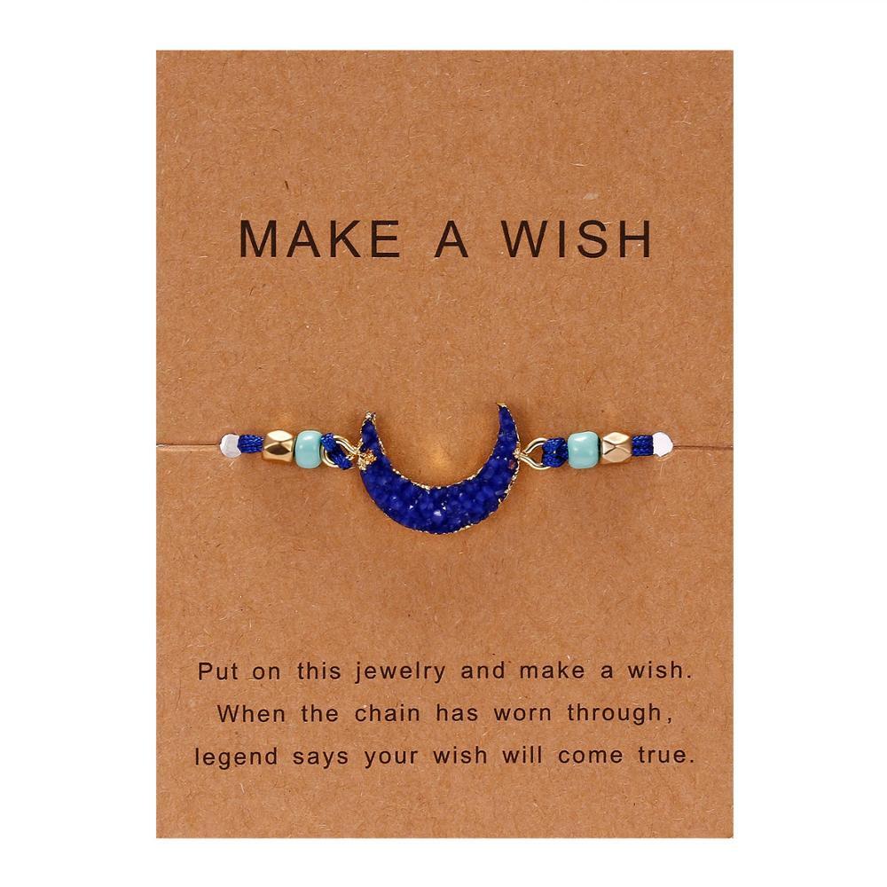 Rinhoo 1 шт. ручной работы сделать пожелание картон красочные Луна Форма из смолы плетеный браслет для женщин модные ювелирные изделия подарок - Окраска металла: BR18Y0723-3